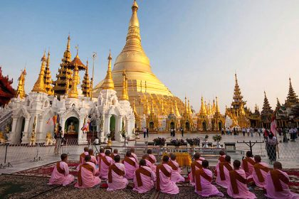 Myanmar family trip from india - morning at Shwedagon pagoda