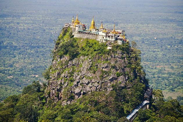 Mt popa in bagan from a distance
