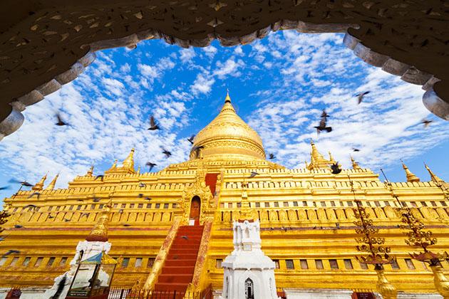 Shwezigon pagoda - a sacred site in Bagan